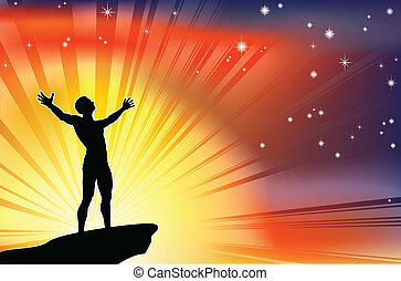 A joyous man with arms stretched up to a glorious sky.