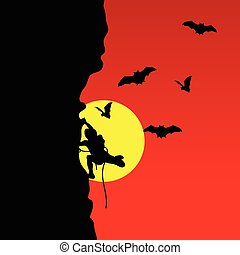 man on cliff with bat vector