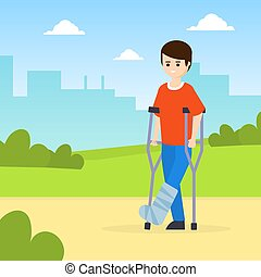 Man on Crutches with Broken Leg Walking in Park Outdoors ...