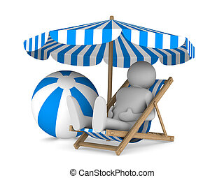 Man on deckchair and ball on white background. Isolated 3D...