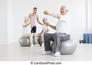 Man on exercise ball