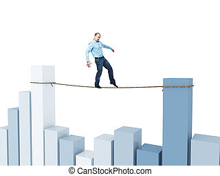 man on financial rope