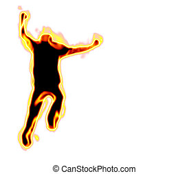 Man On Fire - A burning silhouette of a running man over a...