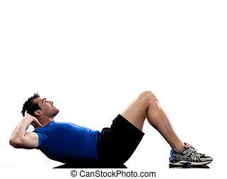 man on floor Abdominals workout posture on white backgroun