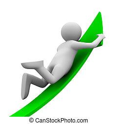 man on green arrow. Isolated 3D image