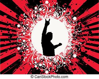 Man on grunge - Silhouette of man on floral grunge...