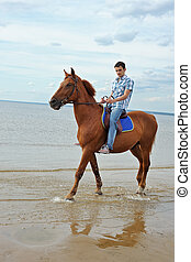 Man on horse - Man riding on a brown horse