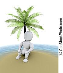 man on island under a palm tree