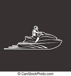man on Jet Ski isolated black background - man on Jet Ski ...