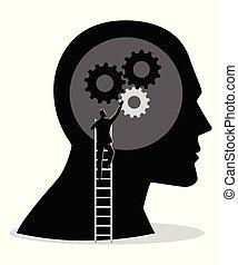 Man on ladder installing gears on human head