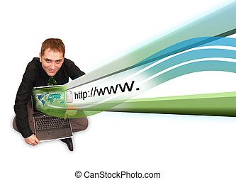Man On Laptop With Internet Projection