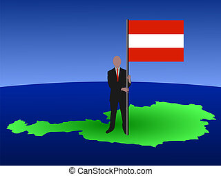 man on map of Austria with flag