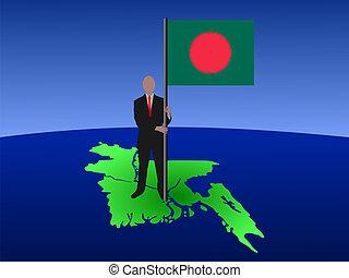 man on map of bangladesh with flag