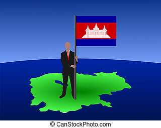 man on map of Cambodia with flag