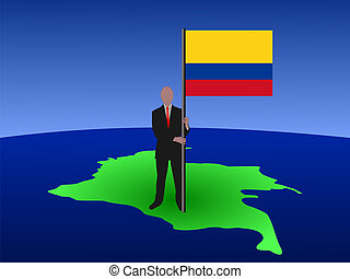 man on map of Colombia with flag