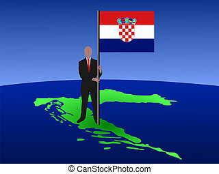 man on map of Croatia with flag