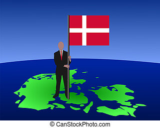 man on map of Denmark with flag