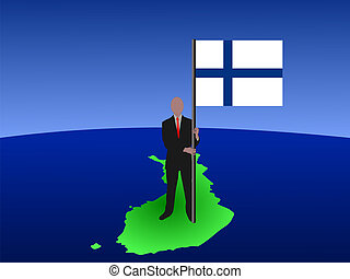 man on map of Finland with flag