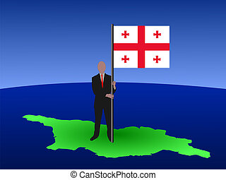 man on map of georgia with flag