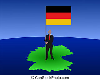 Man on map of Germany with flag