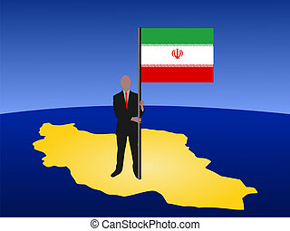 man on map of Iran with flag