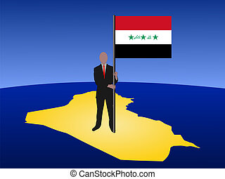 man on map of Iraq with flag