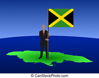 man on map of Jamaica with flag