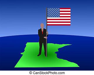man on map of Minnesota with flag