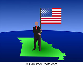 man on map of Missouri with flag