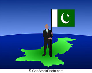 man on map of Pakistan with flag