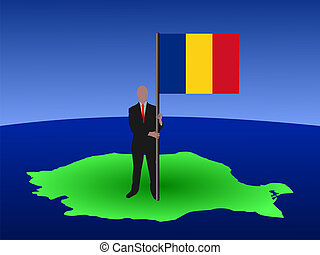 man on map of Romania with flag