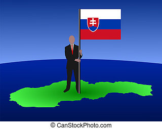 man on map of Slovakia with flag
