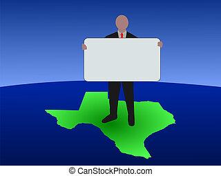 man on map of Texas with sign