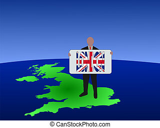 man on map of UK