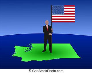 man on map of Washington with flag