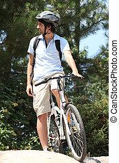 Man on mountain biking day out