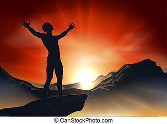 Man on mountaintop with arms out - Illustration of a man on...
