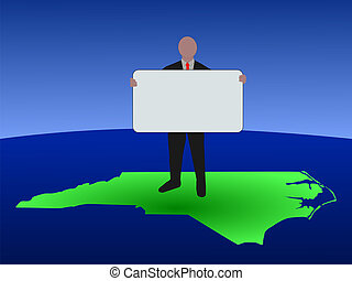 man on North Carolina map with sign