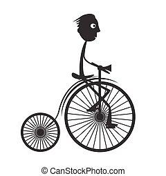 Man on Old Bicycle - Bike Vector Illustration