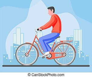 Man on old city bicycle.