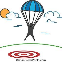 Man on Parachute landing on a target