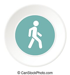 Man on pedestrian crossing icon, flat style
