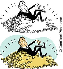 Man on Pile of Gold Coins