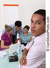 man on professional meeting