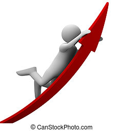 man on red arrow. Isolated 3D image