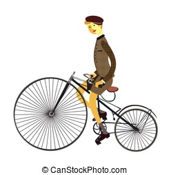 Man on retro vintage old bicycle isolated on white background. Vector illustration