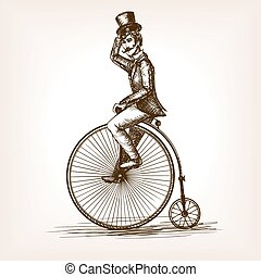 Man on retro vintage old bicycle sketch style vector illustration. Old hand drawn engraving imitation. Gentleman on a bicycle