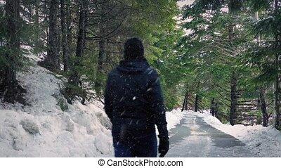 Man On Road In Snowfall