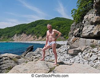 Man on Rocks 4
