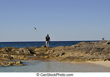 man on rocks at the beach
